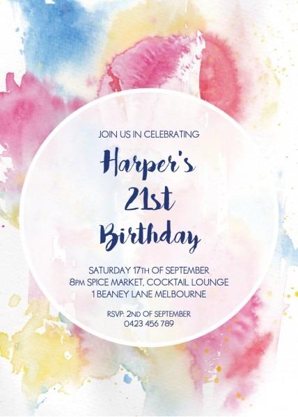 Watercolour 21st Birthda Dp Birthday Invitations Invitaion