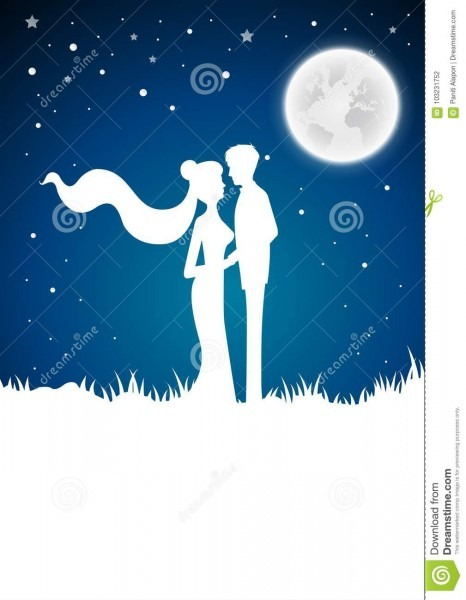 Wedding Invitation Card With Silhouette And Winter Full Moon Bac