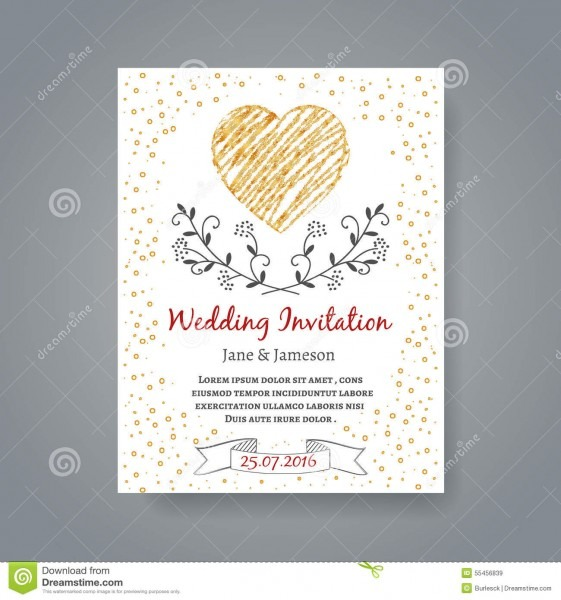 Wedding Invitation Card Template With Hand Drawn Stock Vector