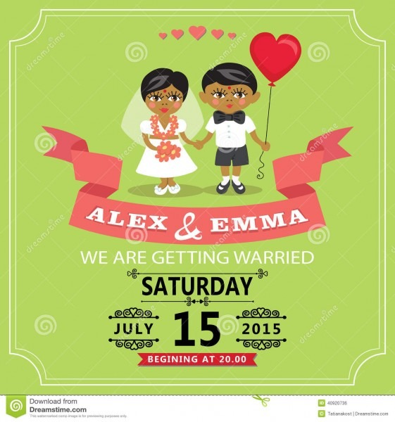 Wedding Invitation With Cartoon Indian Baby Bride And Groom Stock
