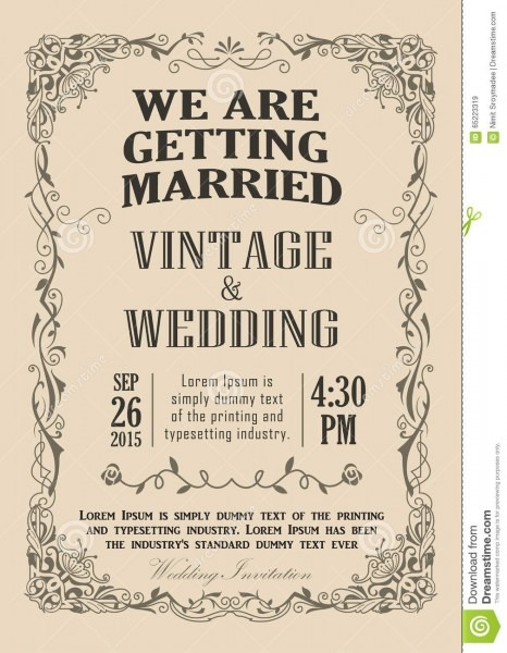 Wedding Invitation Frame Vintage Border Vector Stock Vector