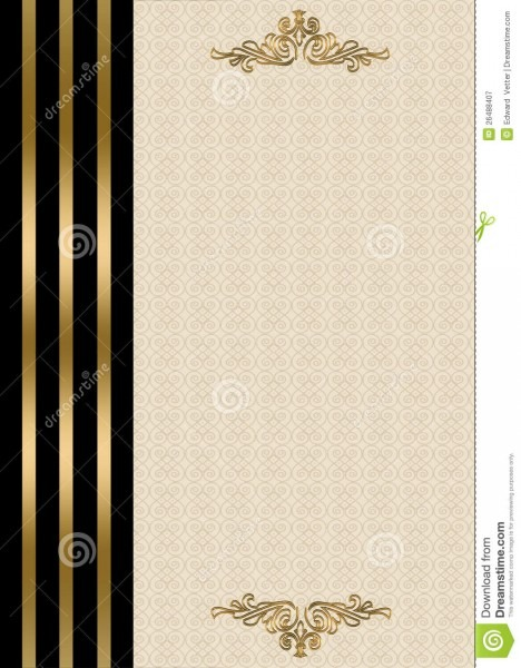 Wedding Invitation Gold And Black Border Stock Illustration