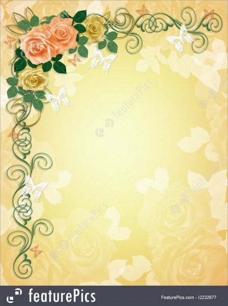 Illustration Of Wedding Invitation Roses Border