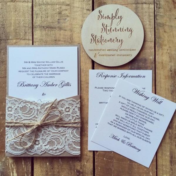 Wedding Invitation Rustic Kraft Pocket Wedding Invitations