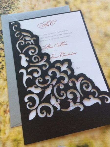 Wedding Invitation Sleeves Elegant Lasercut Wedding Invitation