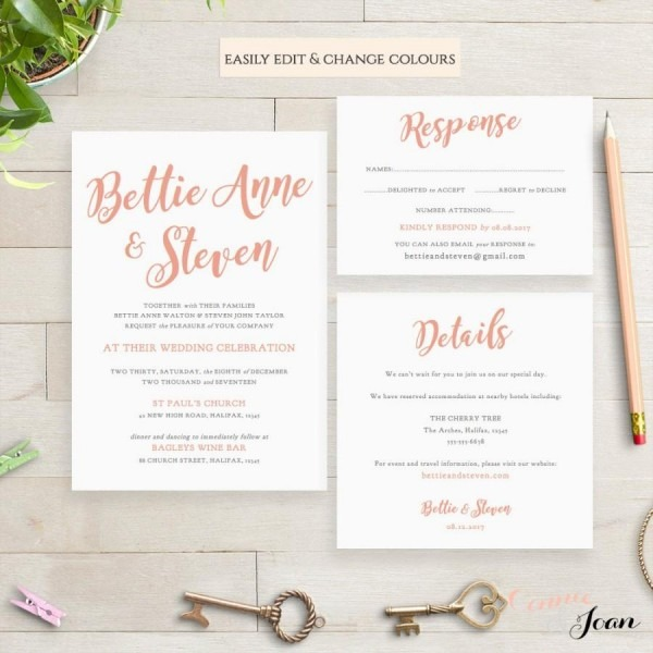 Wedding Invitation Template Set, Printable Invitation Set