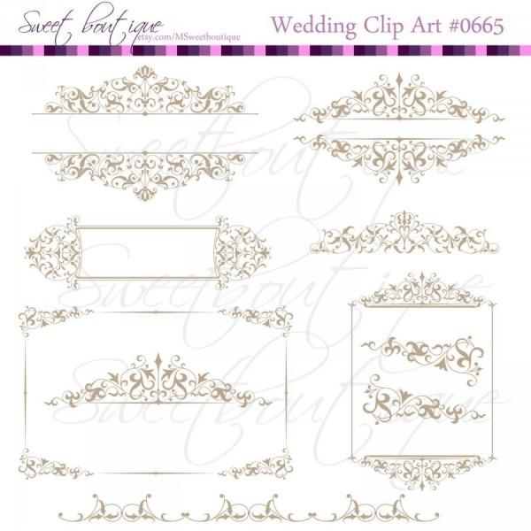 Wedding Invitation, Vintage Calligraphy Clip Art, Clipart Digital