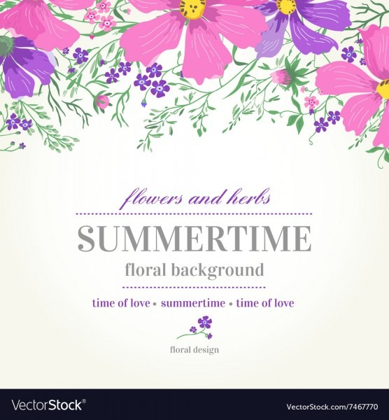 Wedding Invitation With Pink And Purple Flowers Vector Image