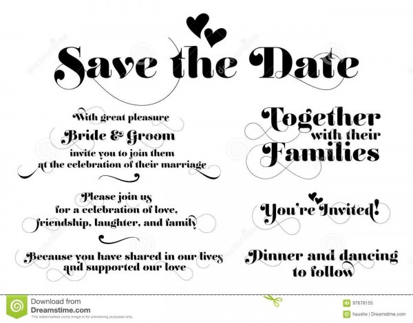 Wedding Invitation Wording  Vector Calligraphy With Swash And Tw