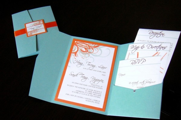 Orange And Turquoise Wedding Invitations