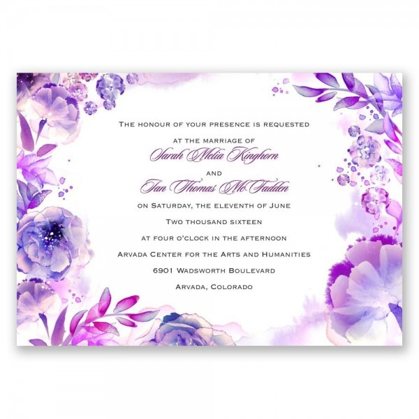Wedding Invitations Purple And Silver