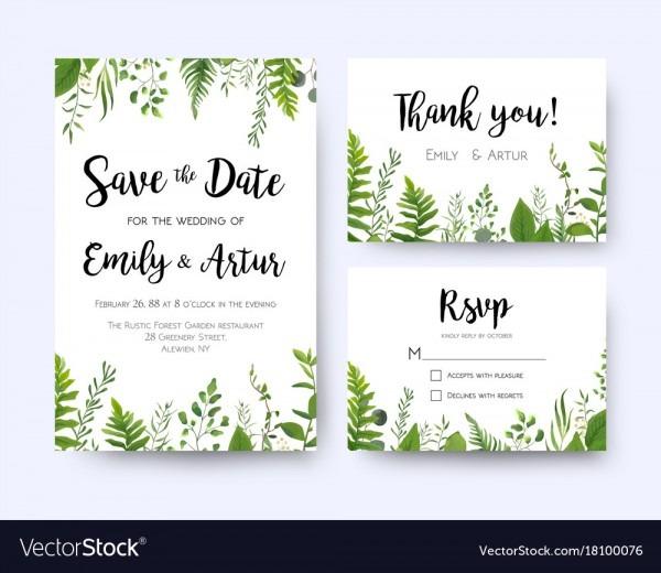 Wedding Invite Invitation Menu Rsvp Thank You Vector Image