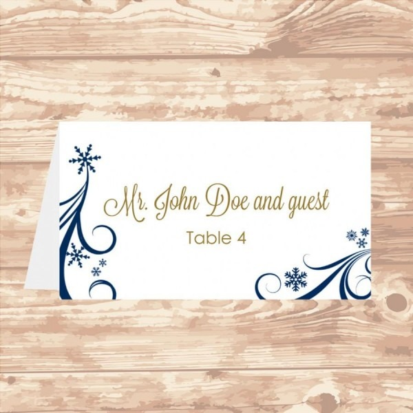 Wedding Place Card Diy Template Navy Swirling Snowflakes Editable