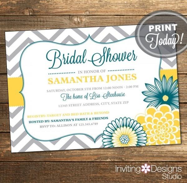 Wedding Shower Invitation, Bridal Shower Invitation, Chevron