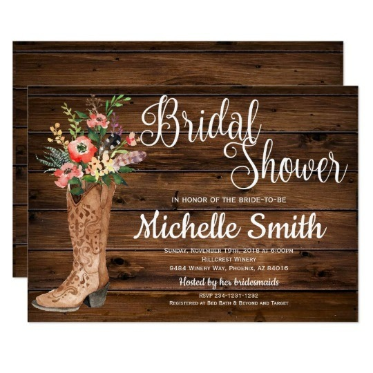 Western Bridal Shower Invitations Rustic Boot Country Invitation