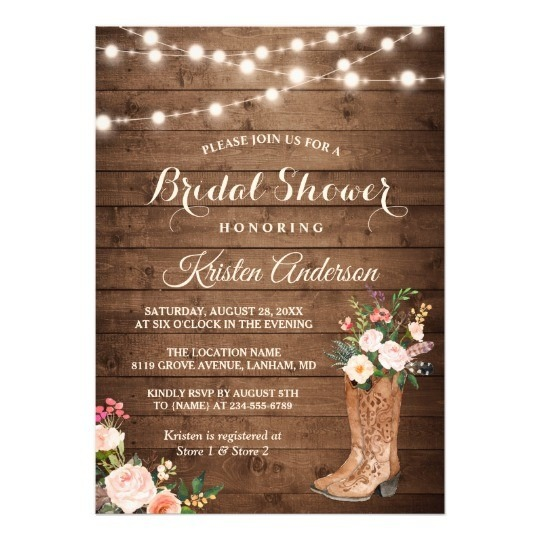 Western Bridal Shower Invitations Rustic Boots Cowgirl Invitation