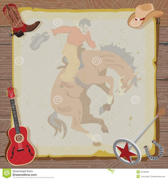 Western Rodeo Cowboy Party Invitation Stock Vector