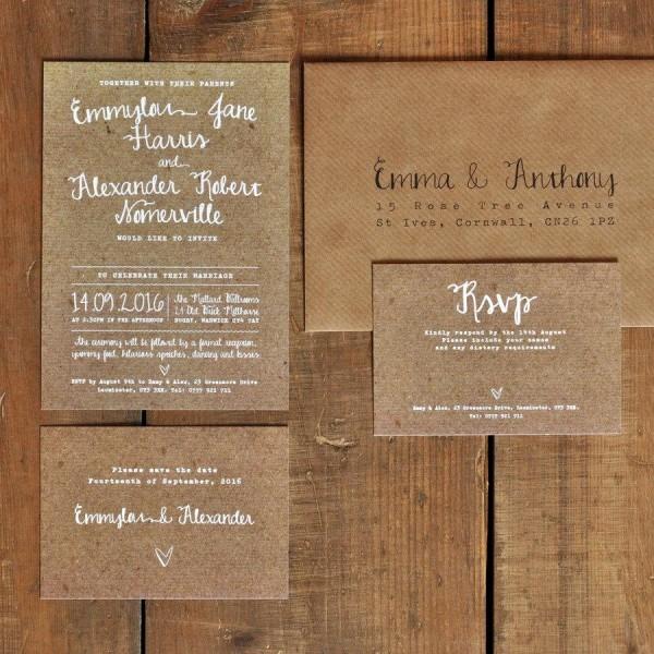 White Calligraphy Kraft Effect Rustic Wedding Invitation Set