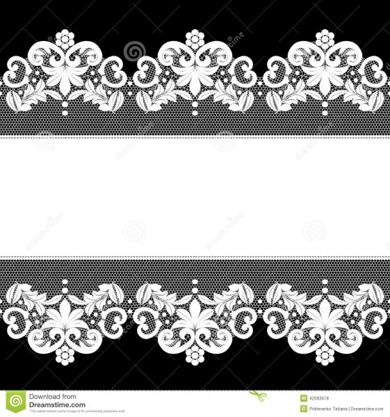 White Lace On Black Background Stock Vector