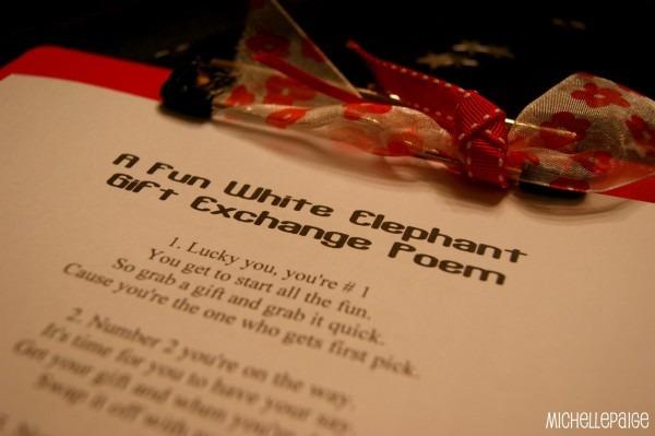 Michelle Paige Blogs  White Elephant Gift Exchange Poem