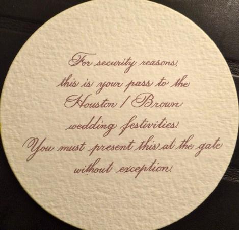 Whitney Houston And Bobby Brown Wedding Invitation