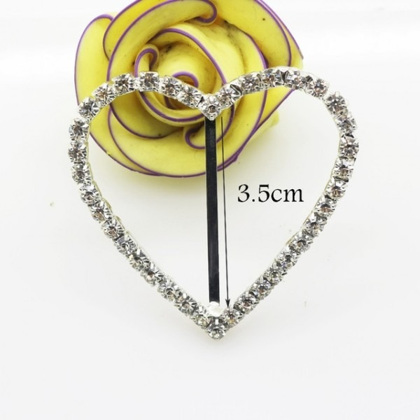 Wholesale 5 Pcs Lot 3 5cm Clear Rhinestone Buckle Heart For