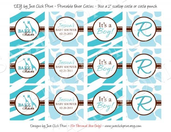 Wild Safari Blue Baby Shower Invitation Printable · Just Click