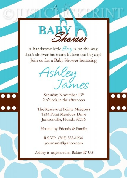Wild Safari Blue Baby Shower Invitation Printable · Just Click