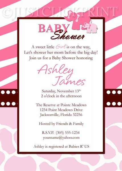 Wild Safari Pink Baby Shower Invitation Printable · Just Click