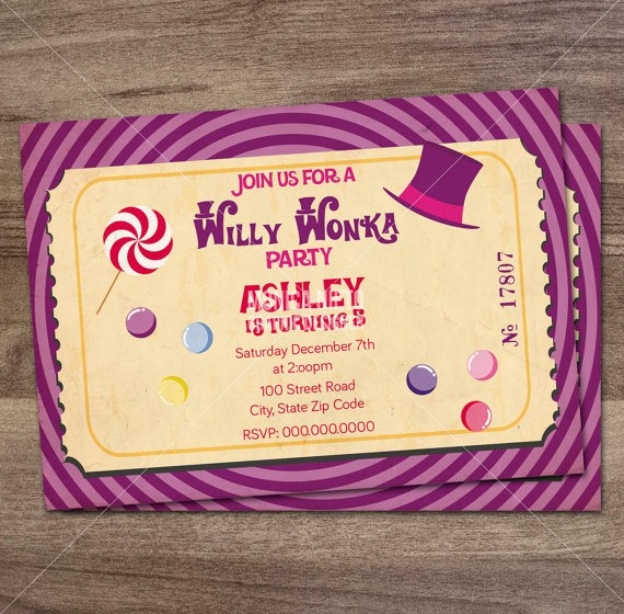 Willy Wonka Birthday Party Epic Willy Wonka Party Invites
