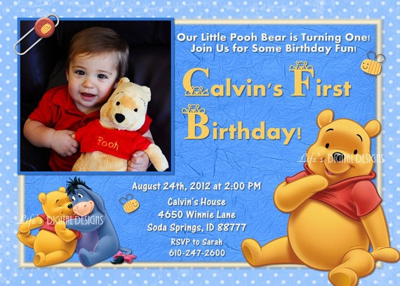 Winnie The Pooh Photo Invita Fancy Winnie The Pooh 1st Birthday