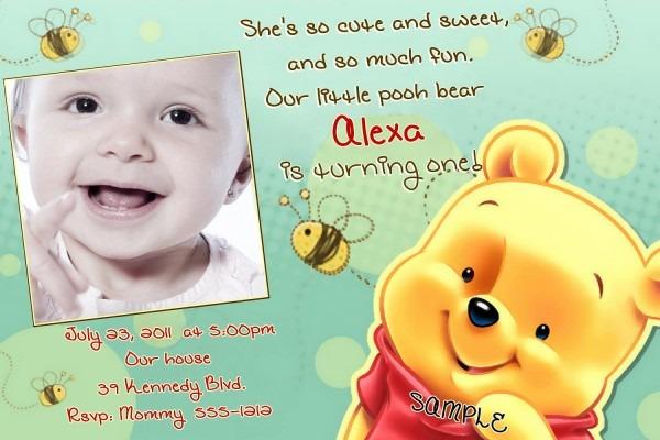 Winnie The Pooh St Birthday Invitation Wording Winnie Simple