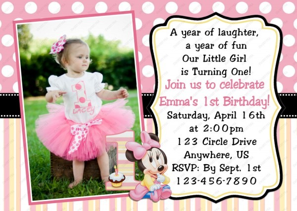 Wonderful One Year Old Birthday Invitations Iloveprojection Sample