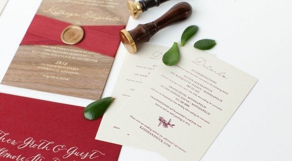 Wood Invitations With Wax Seal