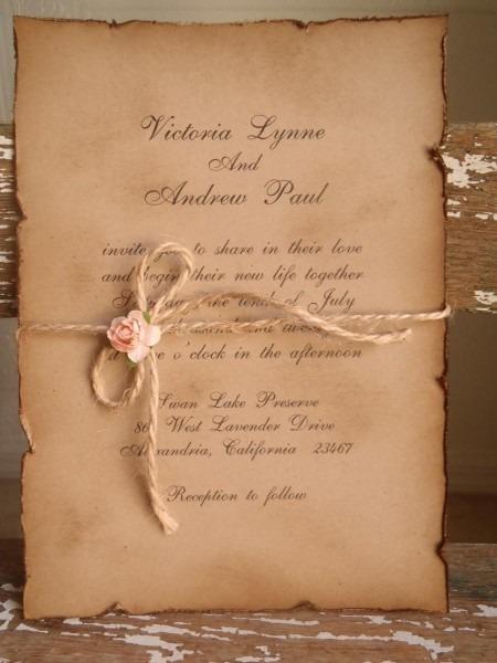 Woodland, Vintage, Kraft, Blush Pink, Wedding Invitation, Rustic