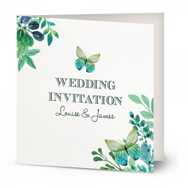 Watercolour Butterfly Wedding Invitation
