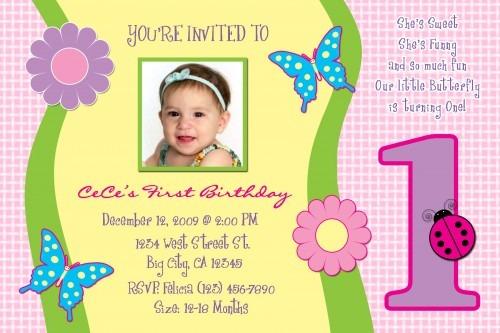 Year Old Bir Unique Invitation Card 1 Year Old Birthday