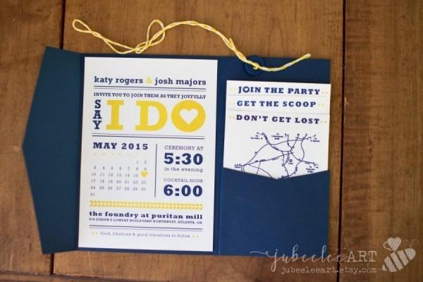 Blue And Yellow Wedding Invitations