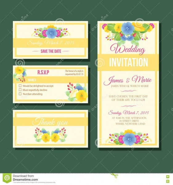 Yellow Wedding Invitation Template Stock Vector