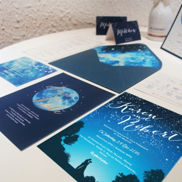 Galaxy Wedding Invitations Starry Night Blue Gold
