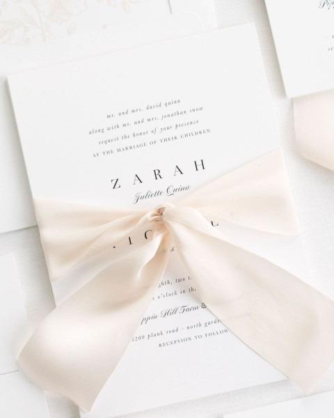 Zarah Ribbon Wedding Invitations