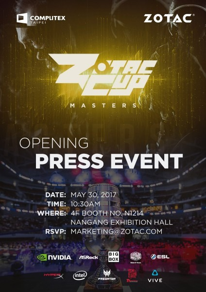 Zotac Cup Masters Opening Press Event Invitation