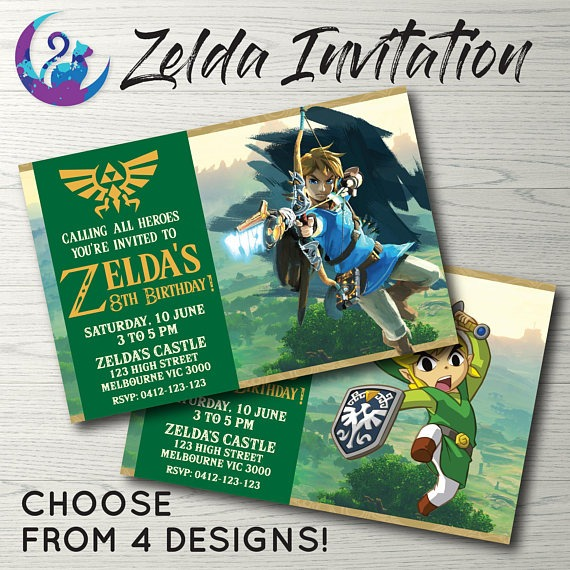 Zelda Birthday Party Beautiful Zelda Party Invitations