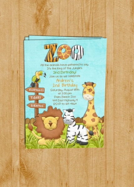Girl Jungle Safari Amazing Zoo Birthday Invitations
