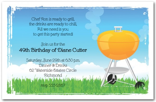 Fancy Barbeque Party Invitations