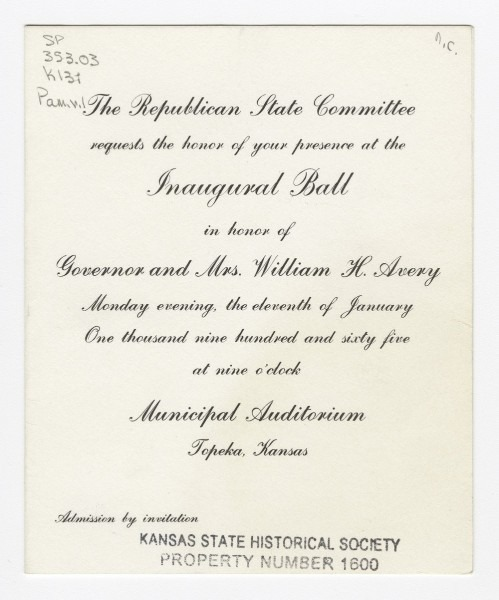 Invitation To Governor William H  Avery's Inaugural Ball At The