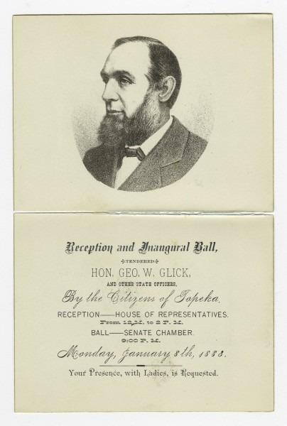 Invitation To Governor George Washington Glick's Inaugural