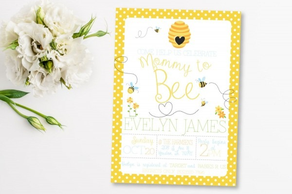 Mommy To Bee Baby Shower Invitation, Baby Bee Shower Theme, New