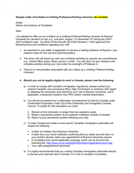 Sample Letter Of Invitation To Visiting Professors Visiting