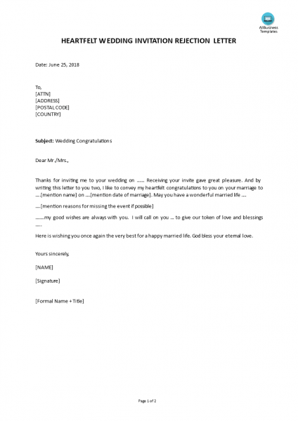 Free Wedding Invitation Rejection As Response To Wedding